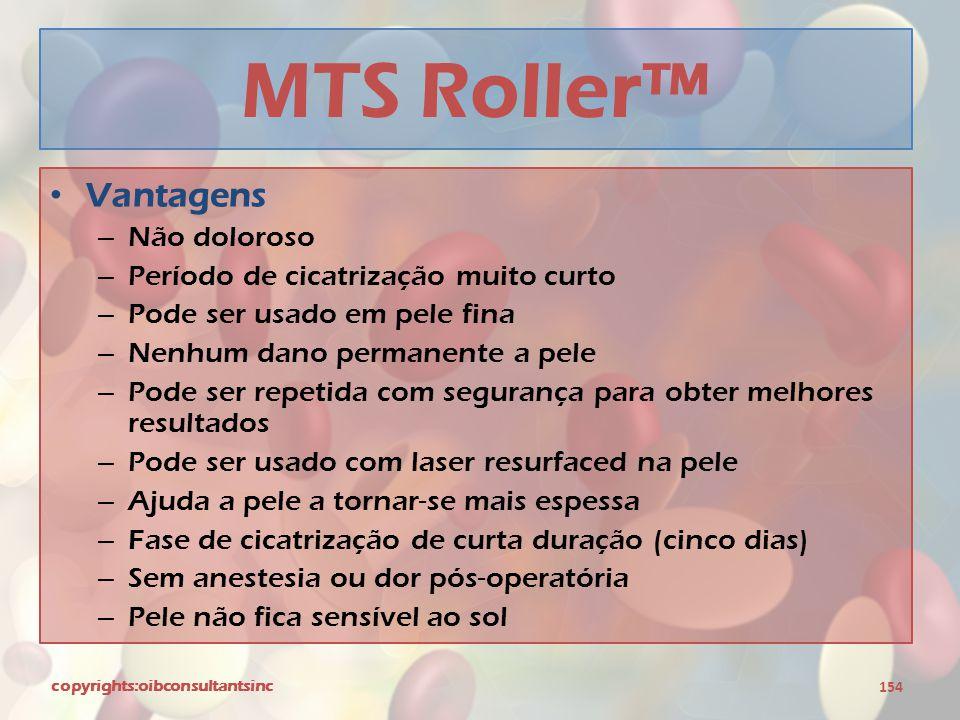 MTS Roller™ Vantagens Não doloroso Período de cicatrização muito curto