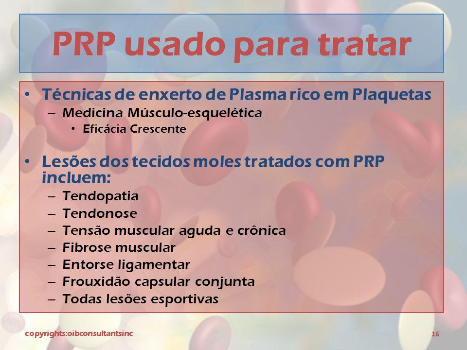 PRP usado para tratar Técnicas de enxerto de Plasma rico em Plaquetas