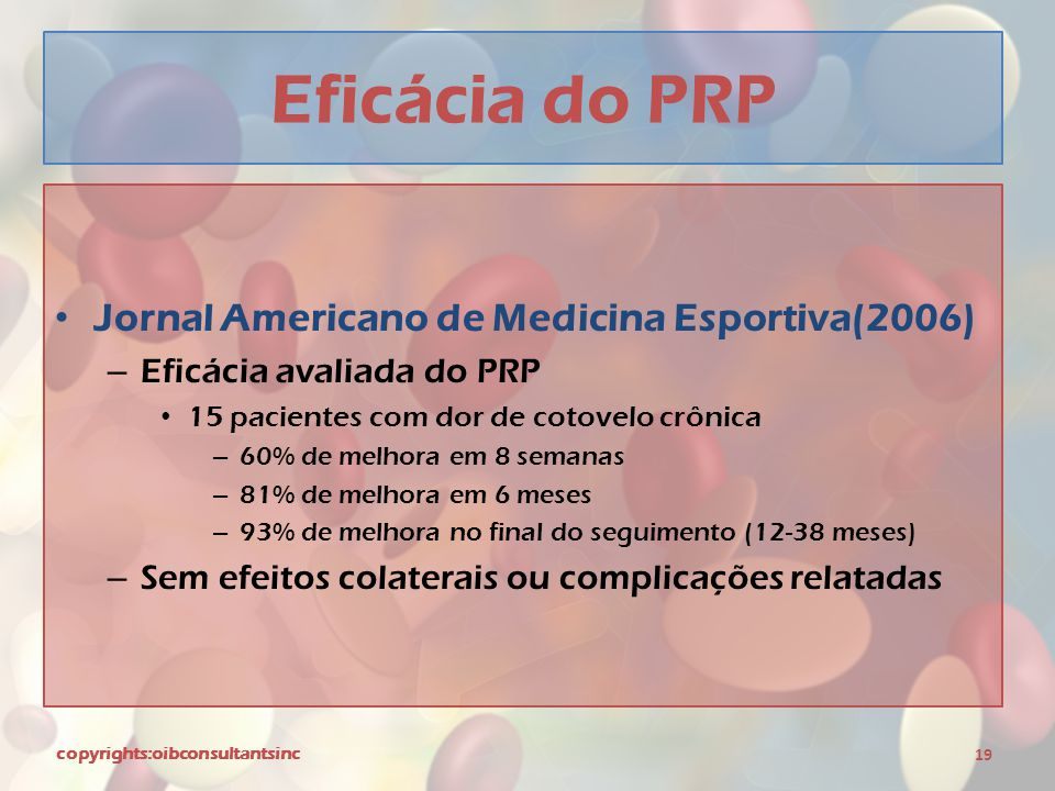Eficácia do PRP Jornal Americano de Medicina Esportiva(2006)