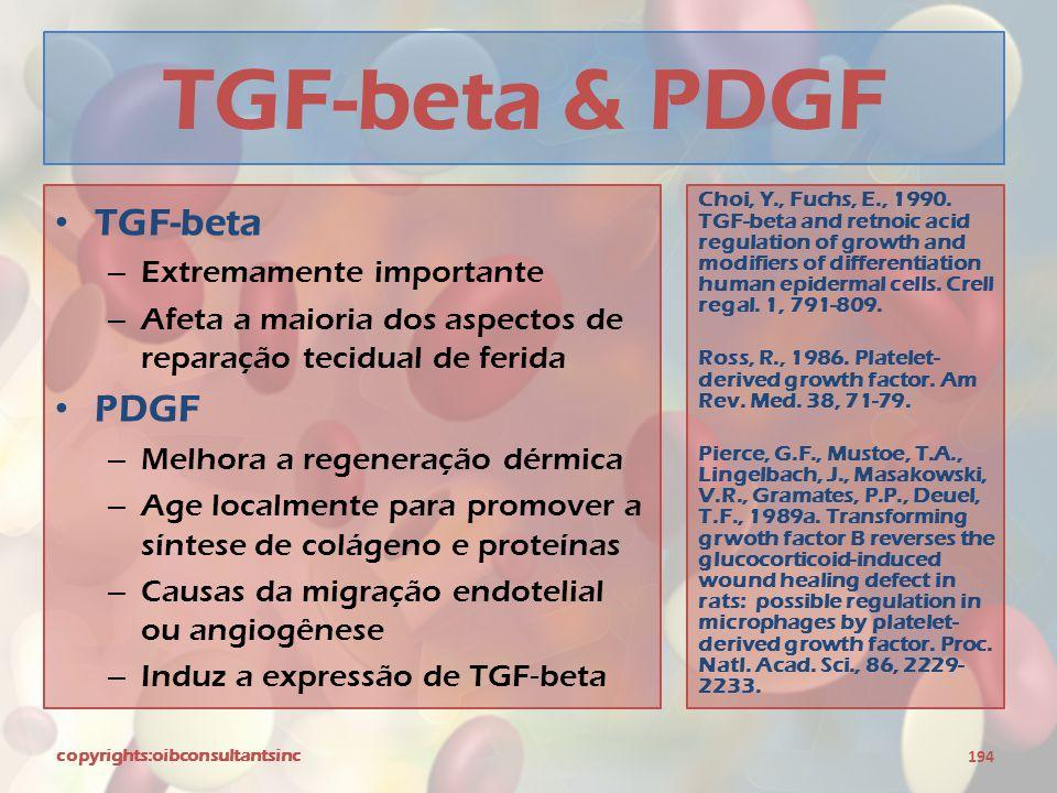 TGF-beta & PDGF TGF-beta PDGF Extremamente importante