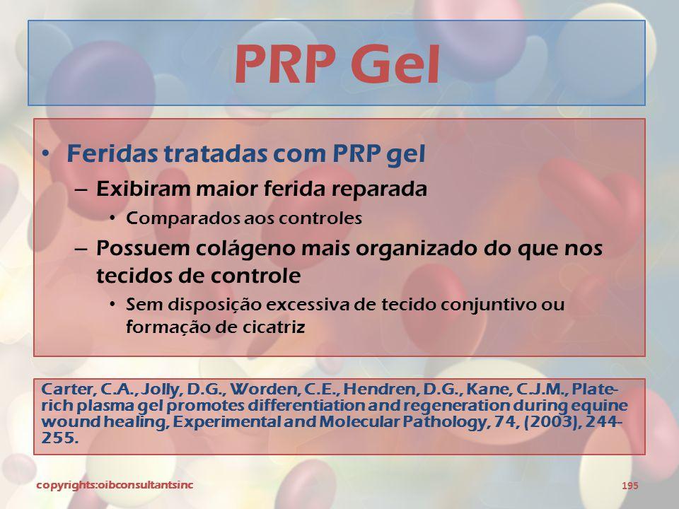 PRP Gel Feridas tratadas com PRP gel Exibiram maior ferida reparada