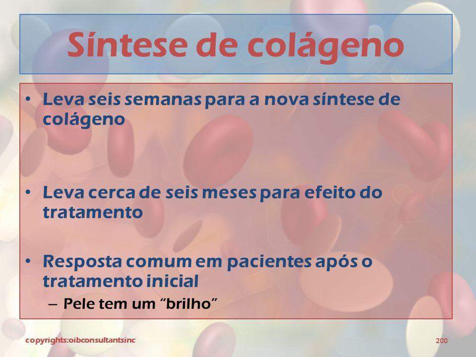 Síntese de colágeno Leva seis semanas para a nova síntese de colágeno