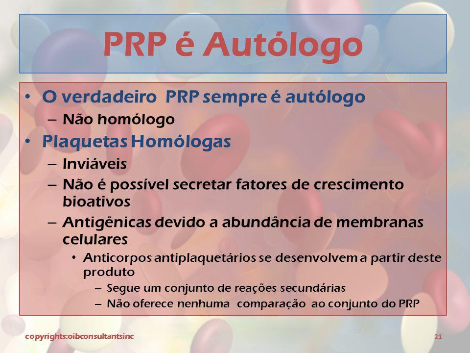 PRP é Autólogo O verdadeiro PRP sempre é autólogo Plaquetas Homólogas