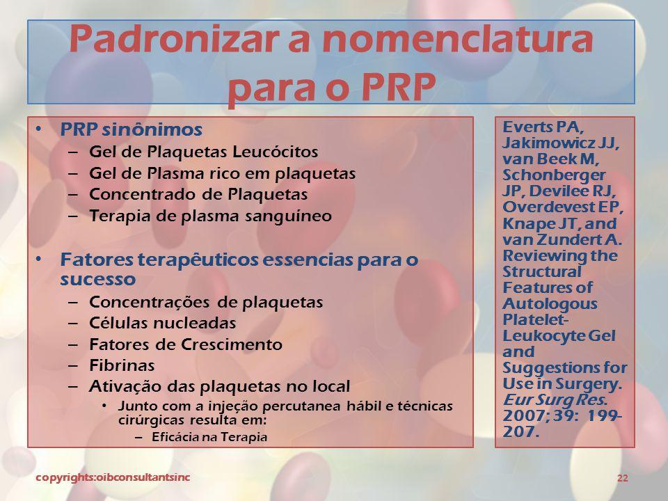 Padronizar a nomenclatura para o PRP