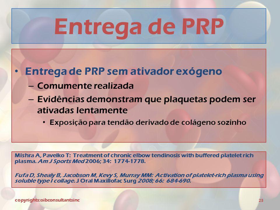 Entrega de PRP Entrega de PRP sem ativador exógeno Comumente realizada