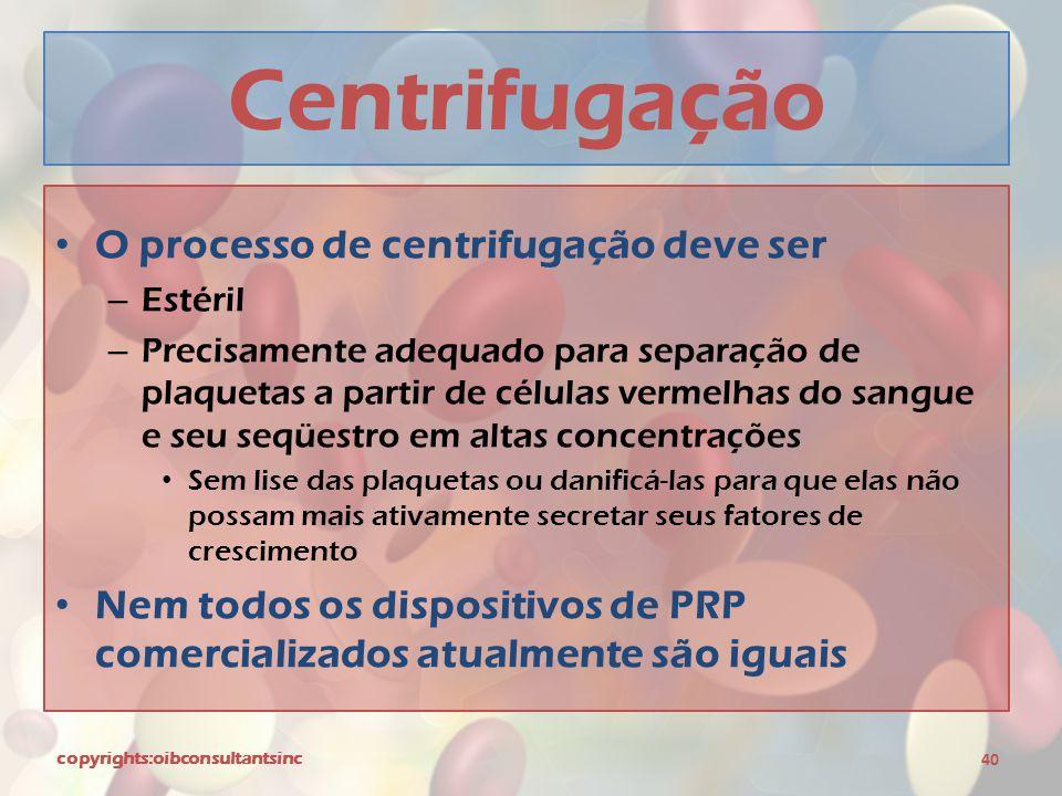 Centrifugação O processo de centrifugação deve ser