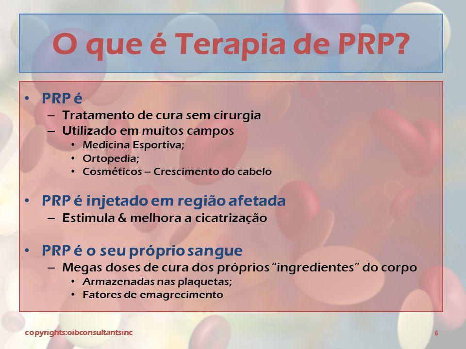 O que é Terapia de PRP PRP é PRP é injetado em região afetada