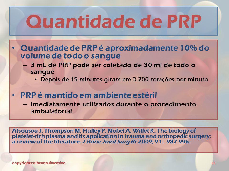 Quantidade de PRP Quantidade de PRP é aproximadamente 10% do volume de todo o sangue. 3 mL de PRP pode ser coletado de 30 ml de todo o sangue.