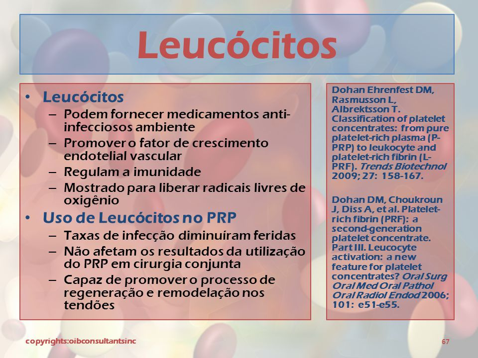 Leucócitos Leucócitos Uso de Leucócitos no PRP