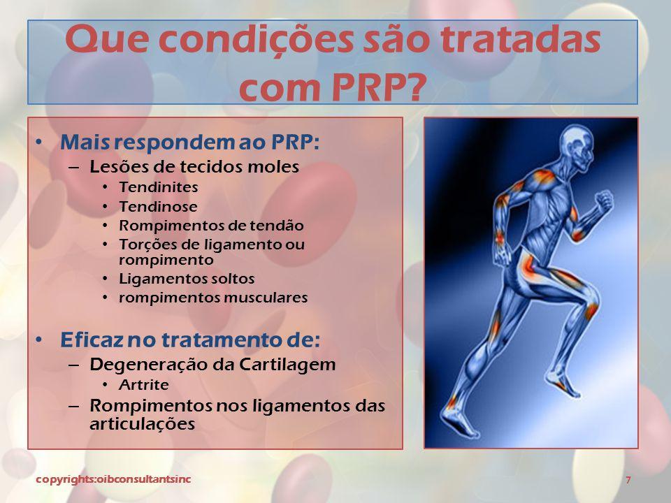 Que condições são tratadas com PRP