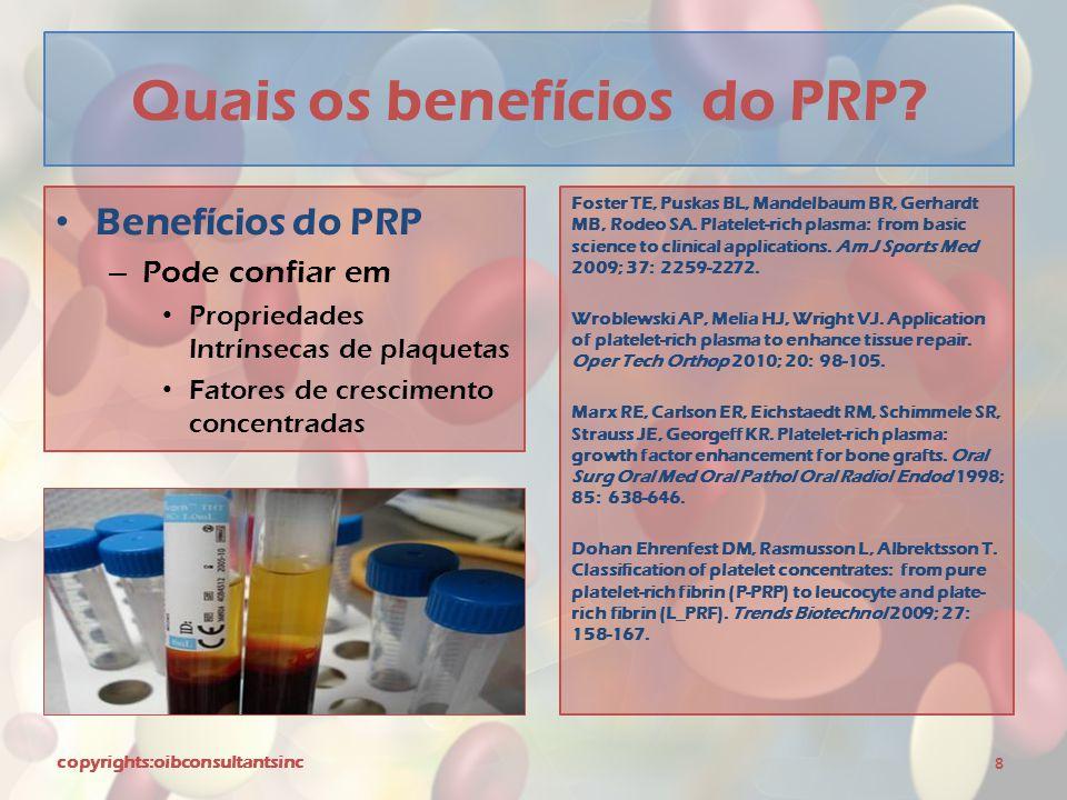 Quais os benefícios do PRP