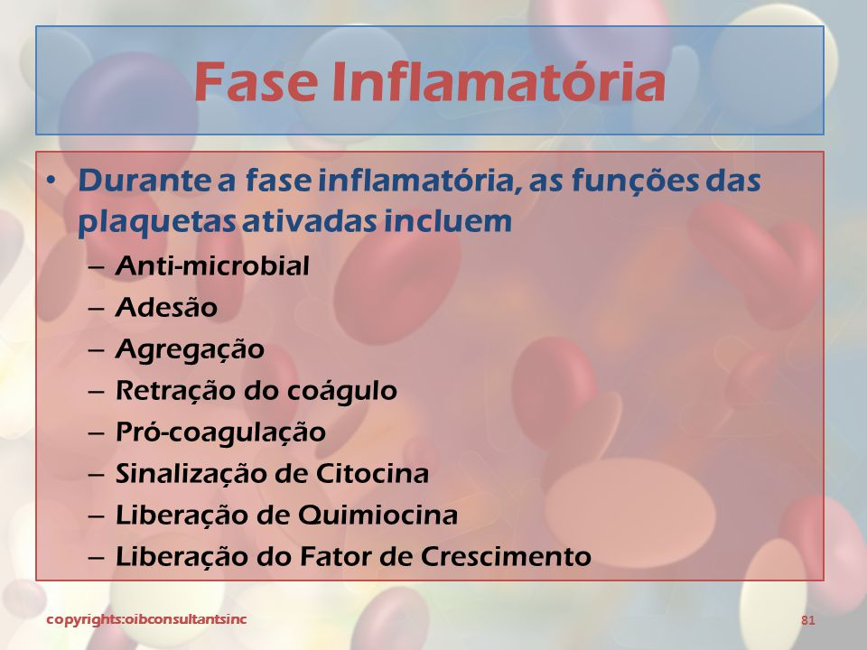 Fase Inflamatória Durante a fase inflamatória, as funções das plaquetas ativadas incluem. Anti-microbial.