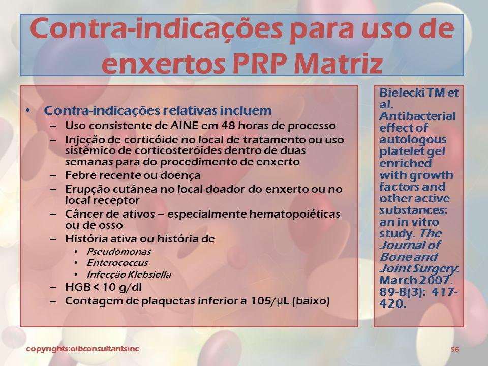 Contra-indicações para uso de enxertos PRP Matriz