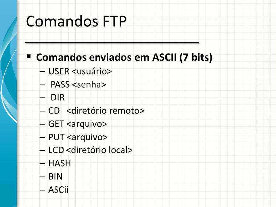 Comandos FTP Comandos enviados em ASCII (7 bits) USER <usuário>