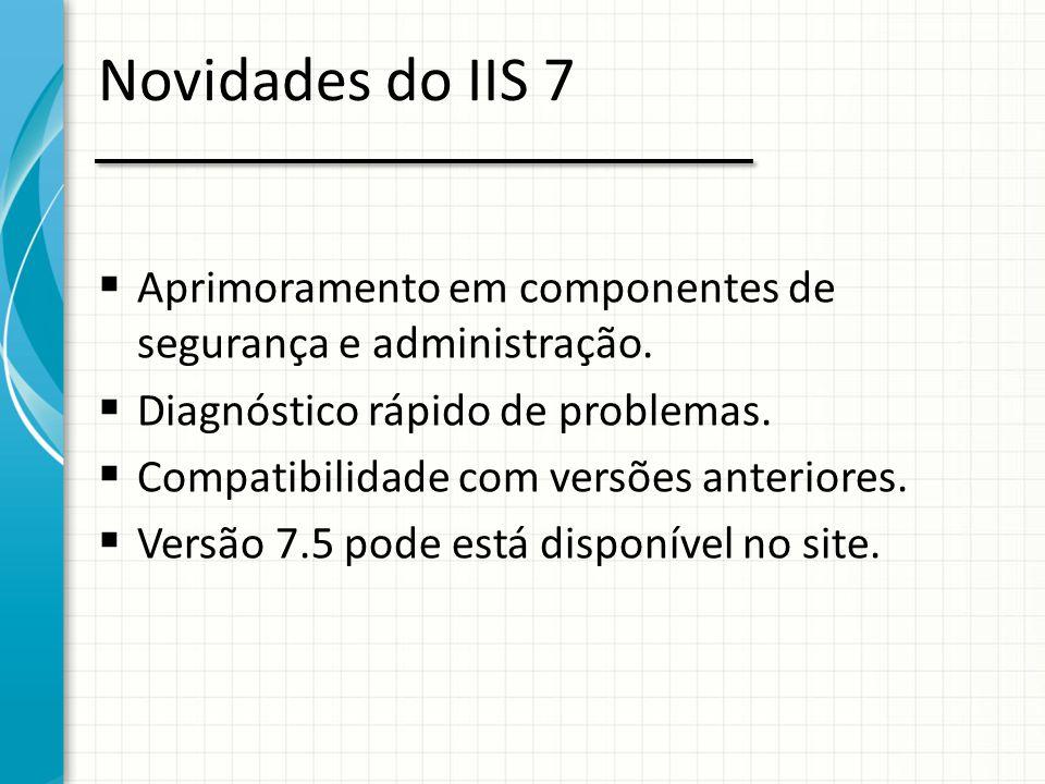 Novidades do IIS 7 Aprimoramento em componentes de segurança e administração. Diagnóstico rápido de problemas.