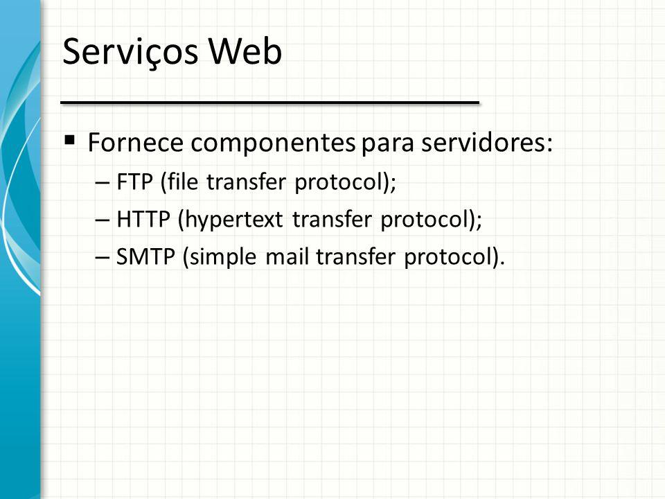 Serviços Web Fornece componentes para servidores: