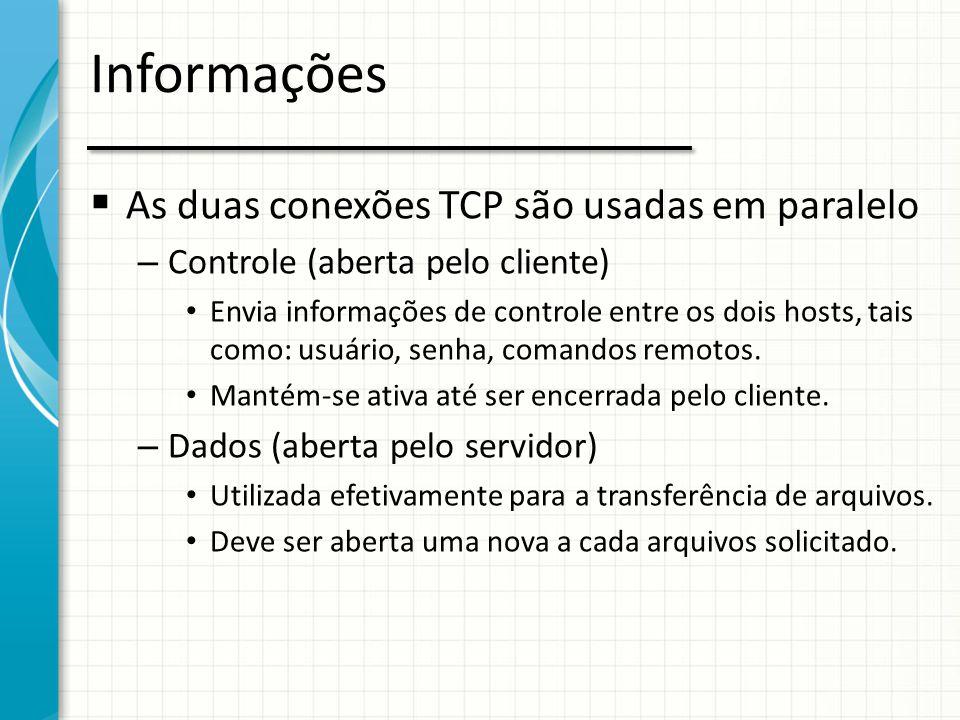 Informações As duas conexões TCP são usadas em paralelo