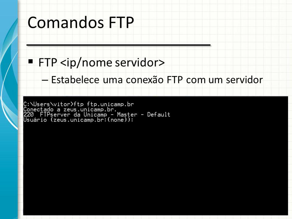 Comandos FTP FTP <ip/nome servidor>