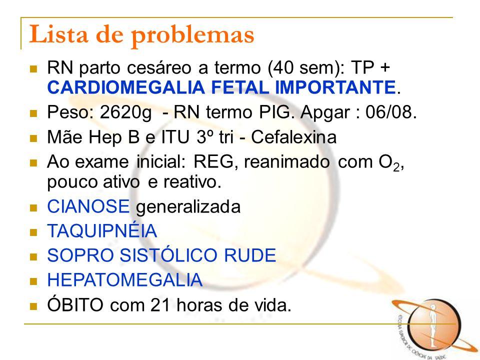 Lista de problemas RN parto cesáreo a termo (40 sem): TP + CARDIOMEGALIA FETAL IMPORTANTE. Peso: 2620g - RN termo PIG. Apgar : 06/08.