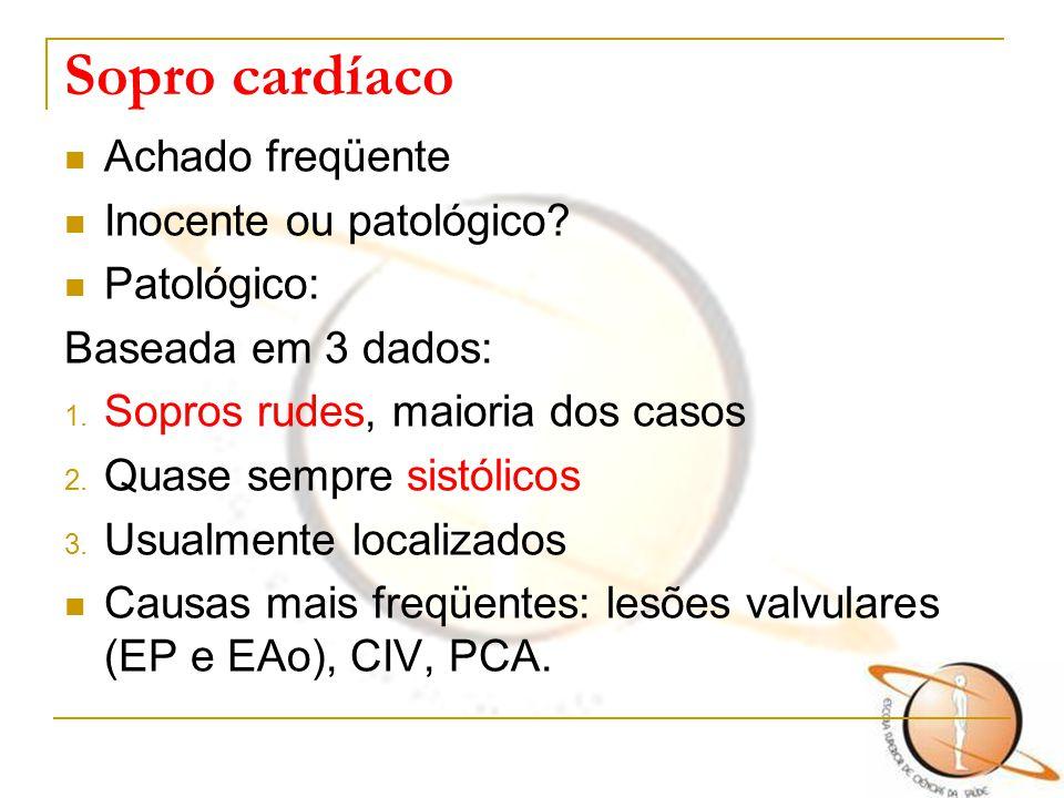 Sopro cardíaco Achado freqüente Inocente ou patológico Patológico: