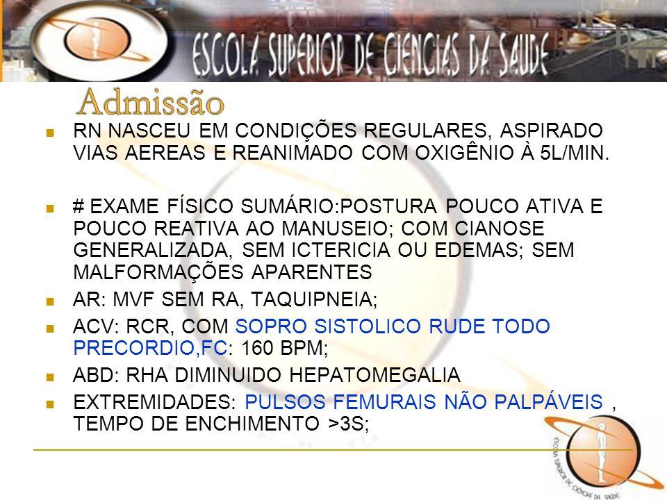Admissão RN NASCEU EM CONDIÇÕES REGULARES, ASPIRADO VIAS AEREAS E REANIMADO COM OXIGÊNIO À 5L/MIN.