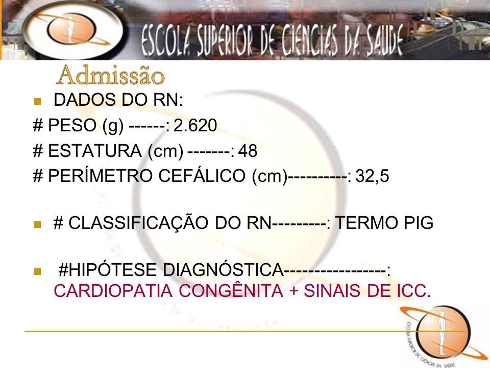 Admissão DADOS DO RN: # PESO (g) ------: 2.620