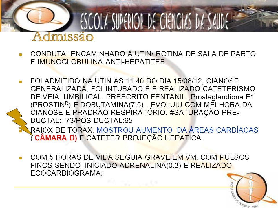 Admissão CONDUTA: ENCAMINHADO À UTIN/ ROTINA DE SALA DE PARTO E IMUNOGLOBULINA ANTI-HEPATITEB.