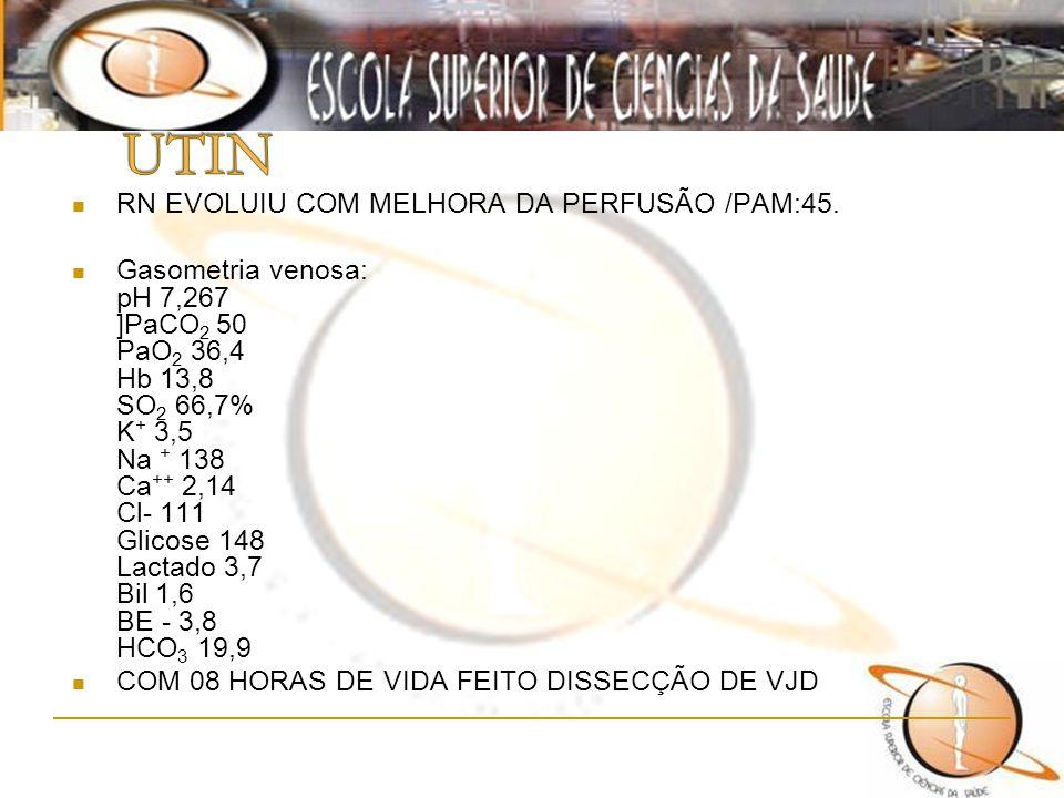 UTIN RN EVOLUIU COM MELHORA DA PERFUSÃO /PAM:45.