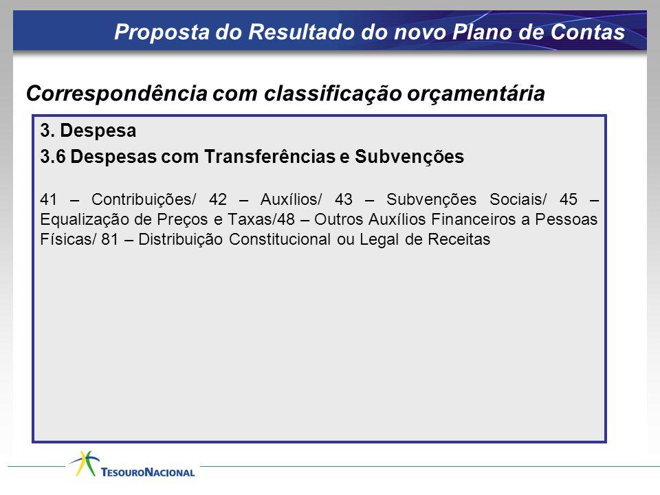 Proposta do Resultado do novo Plano de Contas