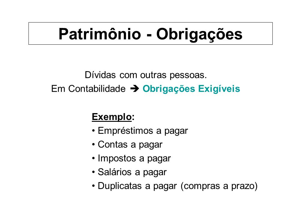 Patrimônio - Obrigações