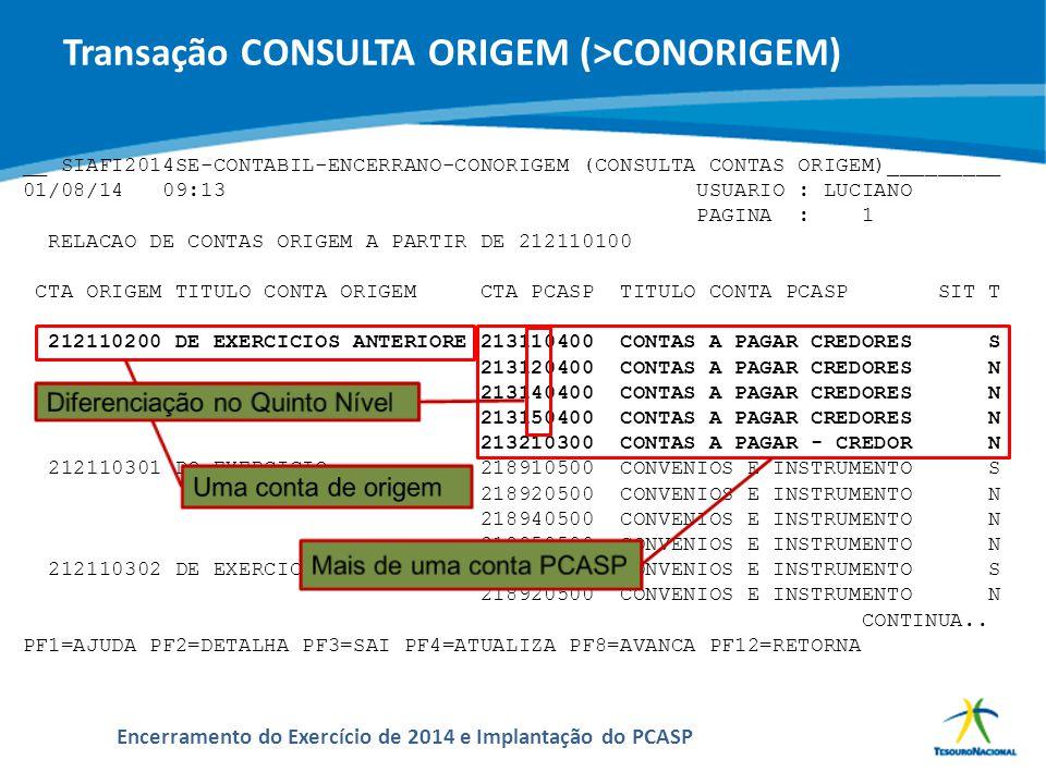 Transação CONSULTA ORIGEM (>CONORIGEM)