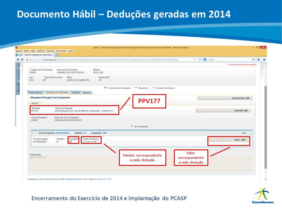 Documento Hábil – Deduções geradas em 2014