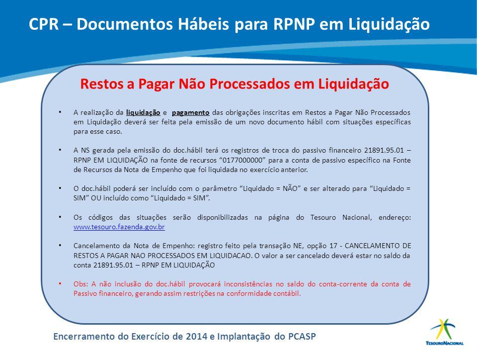 CPR – Documentos Hábeis para RPNP em Liquidação