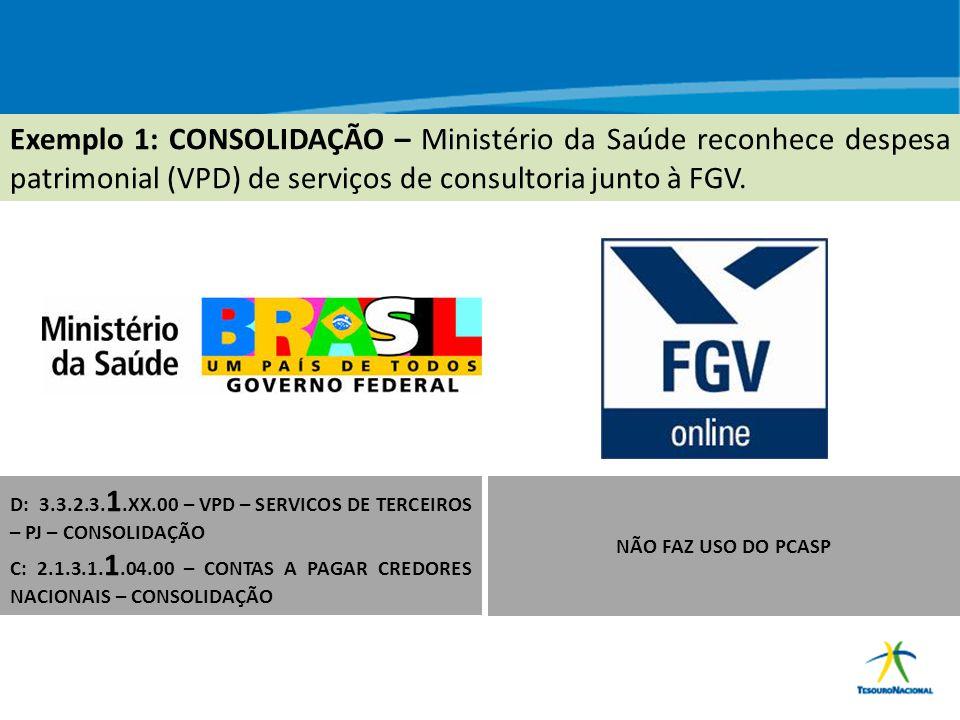 Exemplo 1: CONSOLIDAÇÃO – Ministério da Saúde reconhece despesa patrimonial (VPD) de serviços de consultoria junto à FGV.