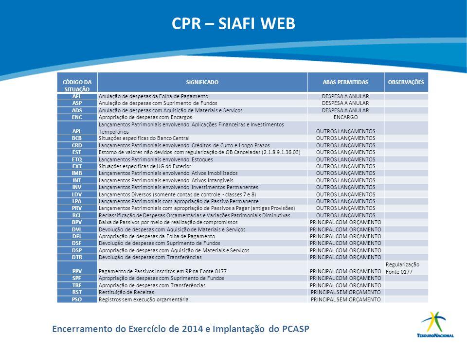 CPR – SIAFI WEB CÓDIGO DA SITUAÇÃO SIGNIFICADO ABAS PERMITIDAS