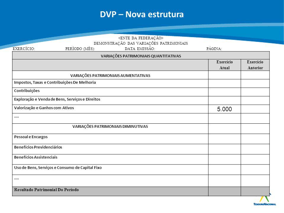 DVP – Nova estrutura 5.000 VARIAÇÕES PATRIMONIAIS QUANTITATIVAS