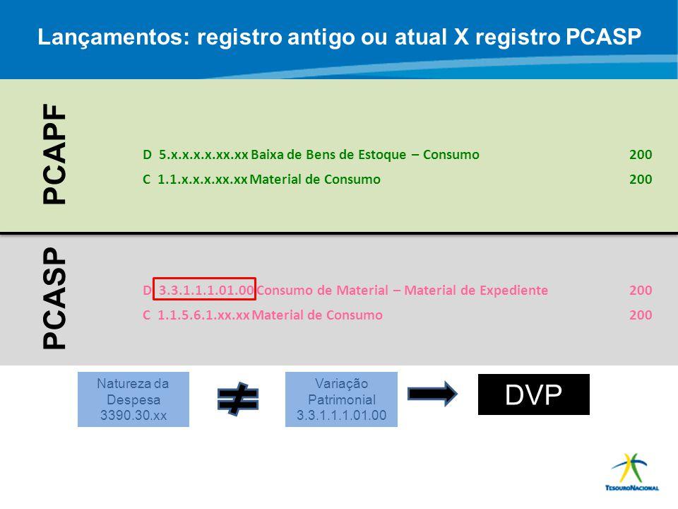 Lançamentos: registro antigo ou atual X registro PCASP