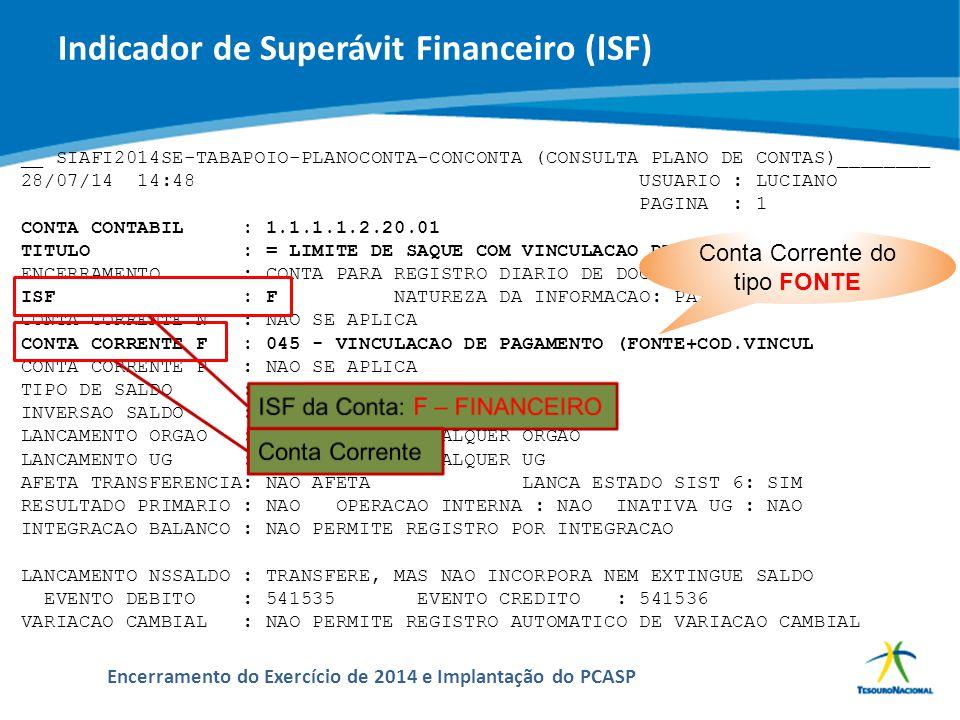 Indicador de Superávit Financeiro (ISF)