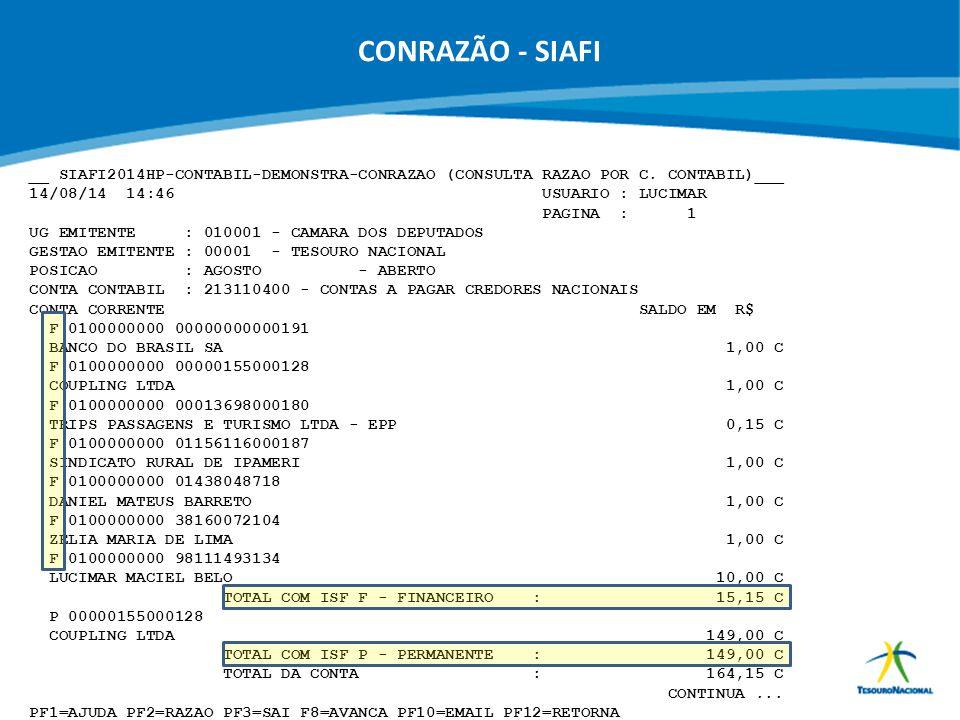 CONRAZÃO - SIAFI __ SIAFI2014HP-CONTABIL-DEMONSTRA-CONRAZAO (CONSULTA RAZAO POR C. CONTABIL)___.