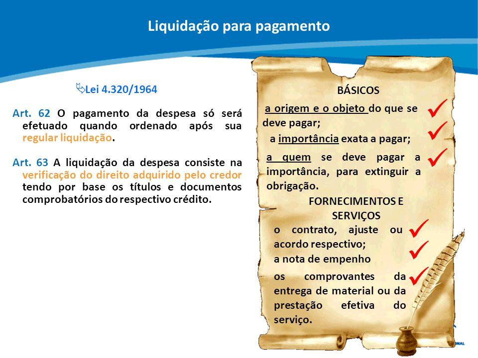 Liquidação para pagamento FORNECIMENTOS E SERVIÇOS