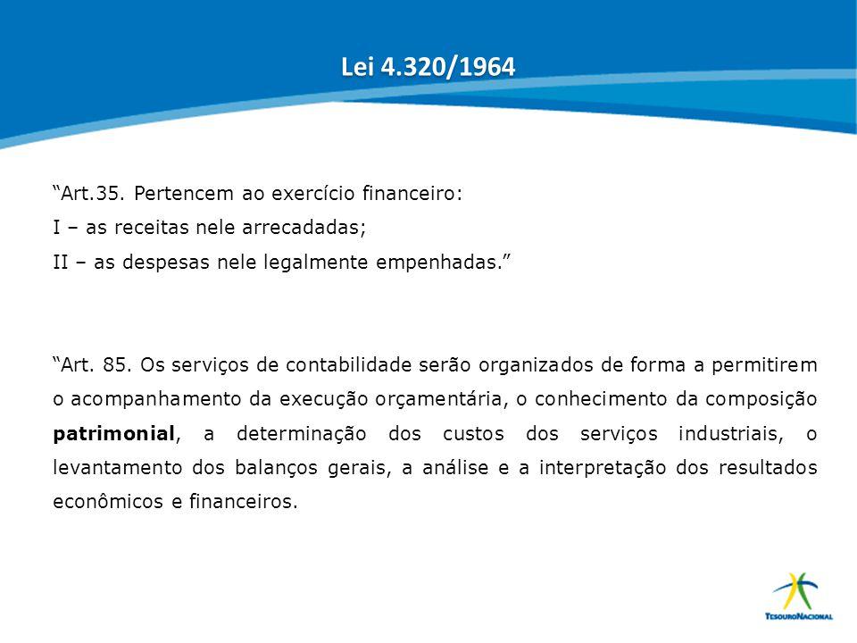 Lei 4.320/1964 Art.35. Pertencem ao exercício financeiro: