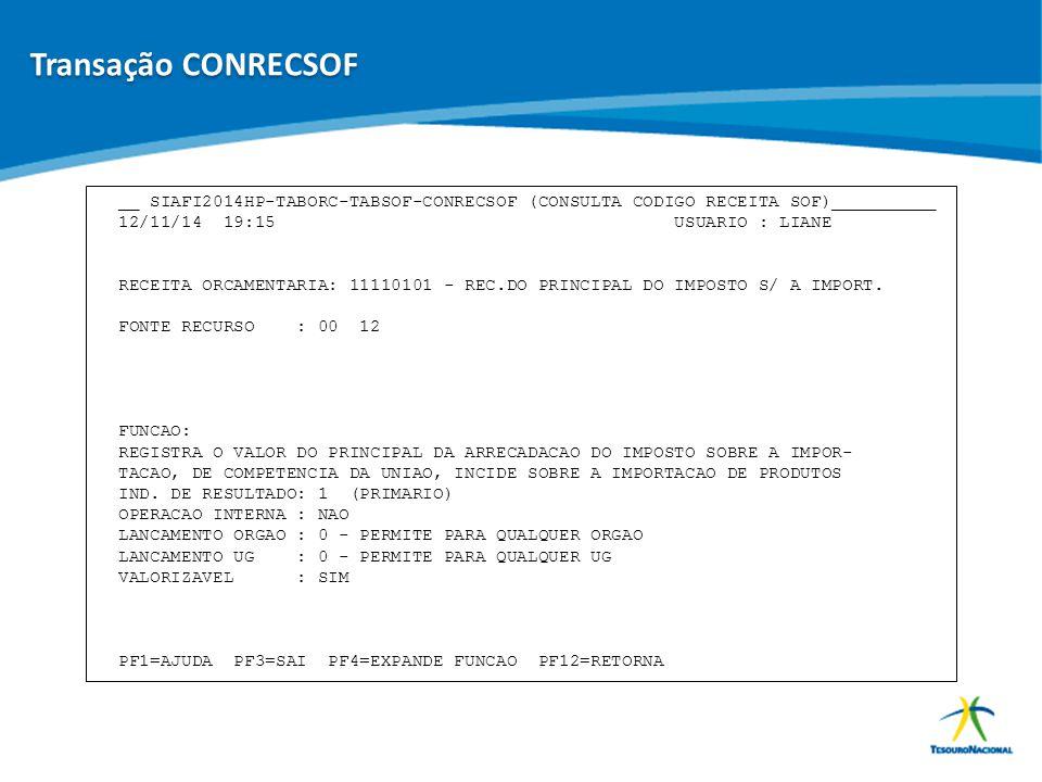 Transação CONRECSOF __ SIAFI2014HP-TABORC-TABSOF-CONRECSOF (CONSULTA CODIGO RECEITA SOF)__________.