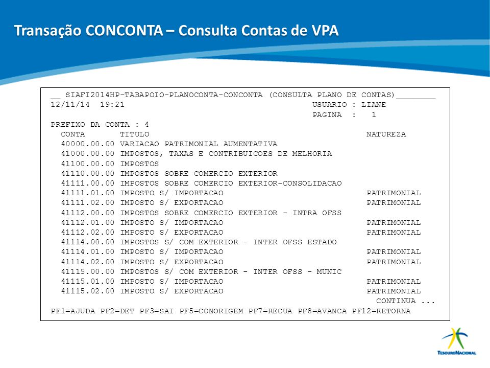 Transação CONCONTA – Consulta Contas de VPA