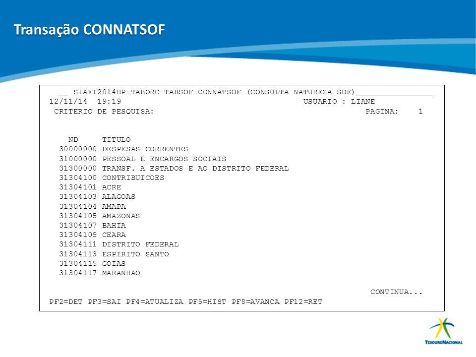 Transação CONNATSOF __ SIAFI2014HP-TABORC-TABSOF-CONNATSOF (CONSULTA NATUREZA SOF)________________.