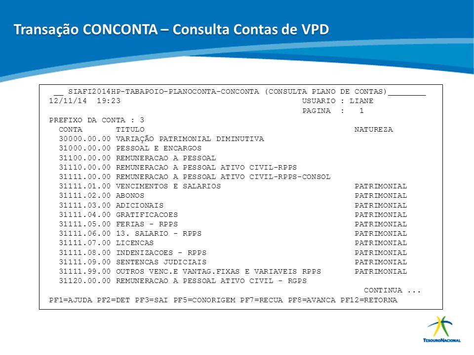 Transação CONCONTA – Consulta Contas de VPD