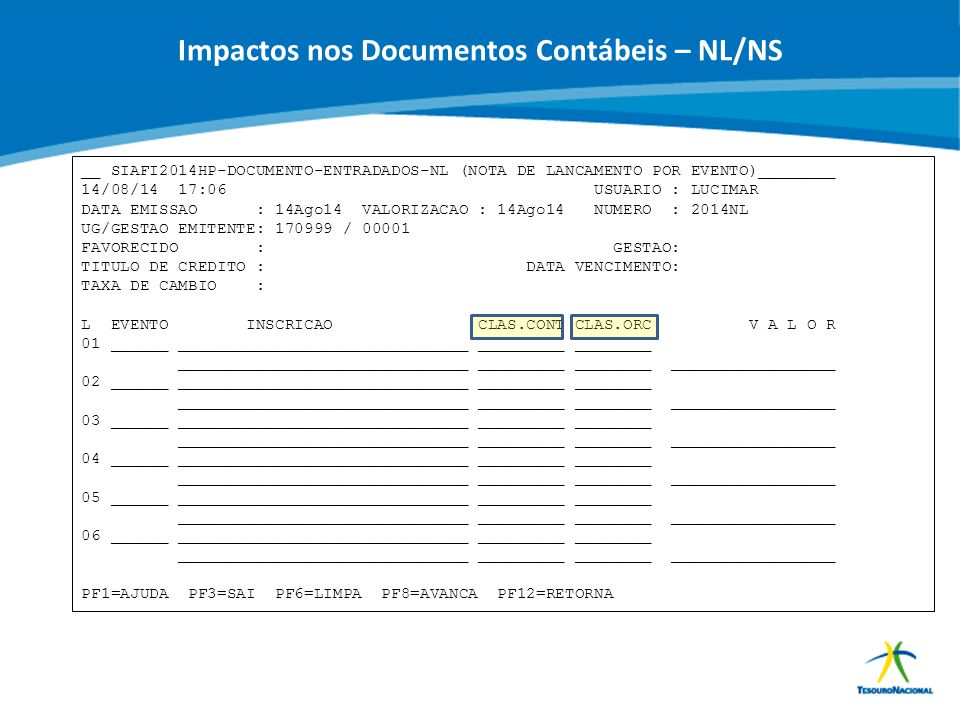 Impactos nos Documentos Contábeis – NL/NS