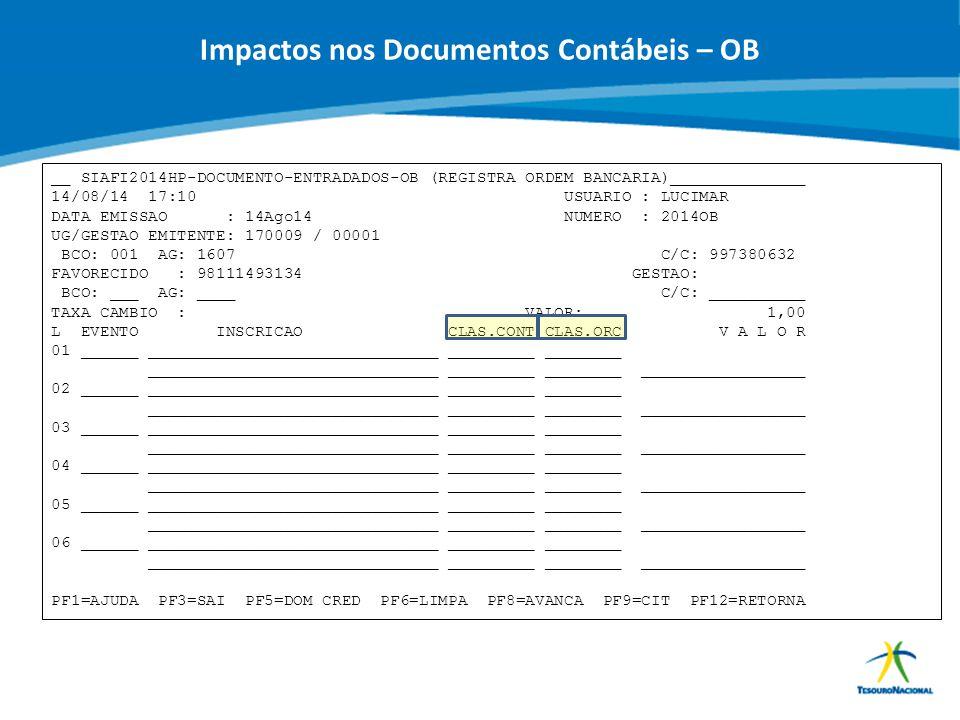 Impactos nos Documentos Contábeis – OB