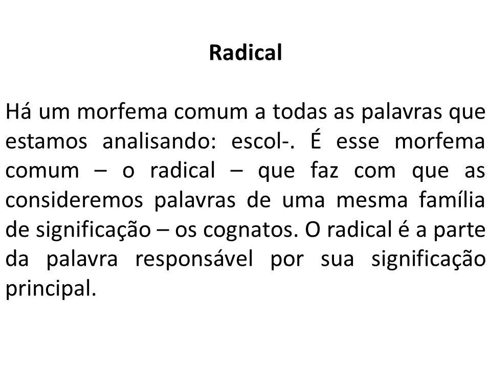 Radical Há um morfema comum a todas as palavras que estamos analisando: escol-.