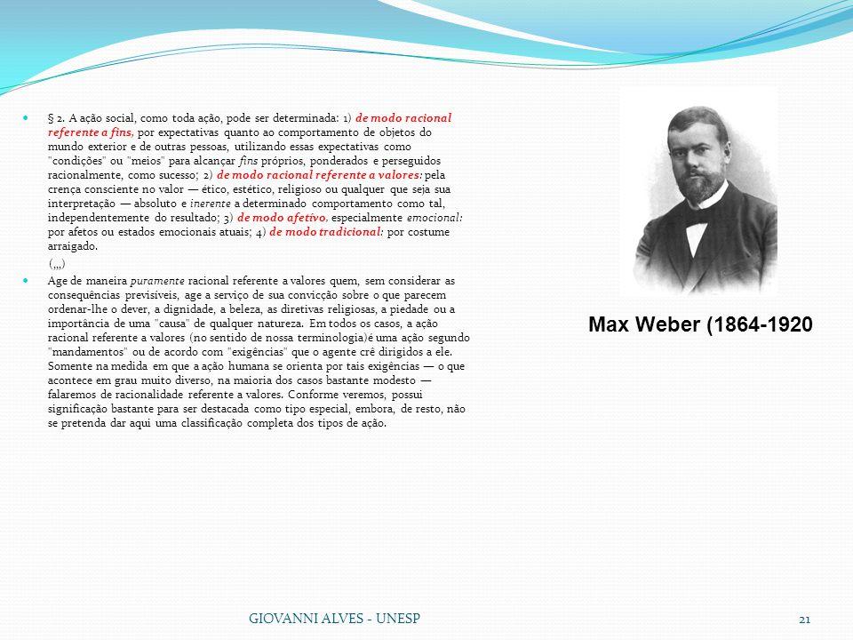Max Weber (1864-1920 GIOVANNI ALVES - UNESP