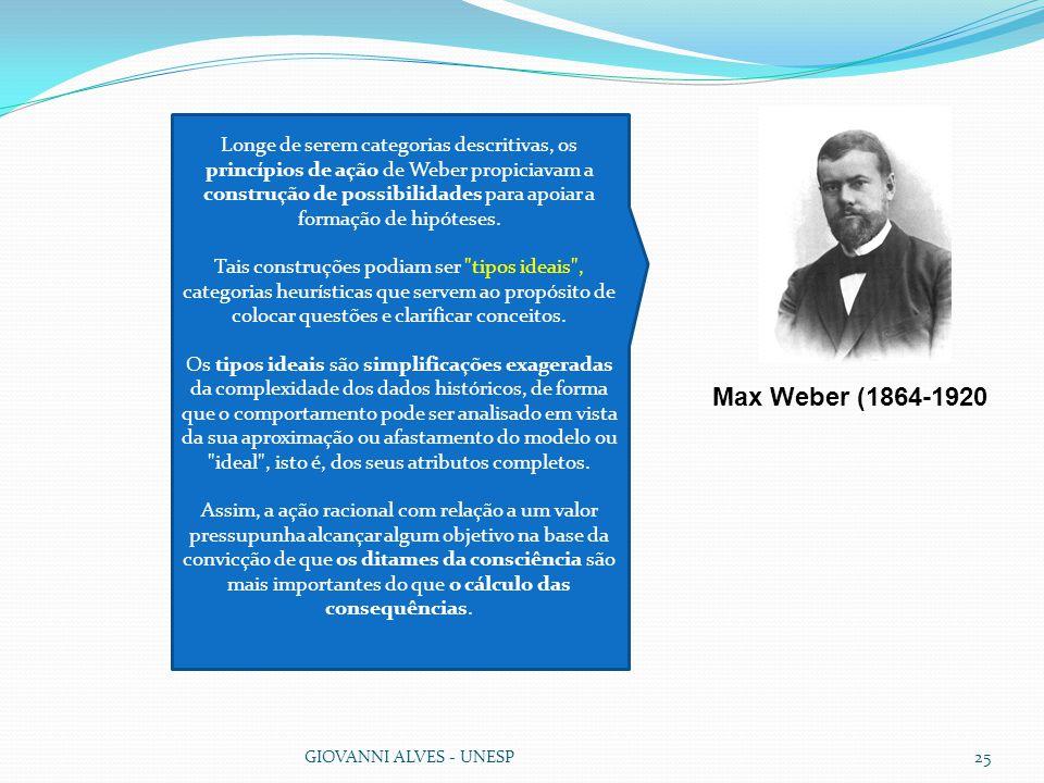Longe de serem categorias descritivas, os princípios de ação de Weber propiciavam a construção de possibilidades para apoiar a formação de hipóteses.